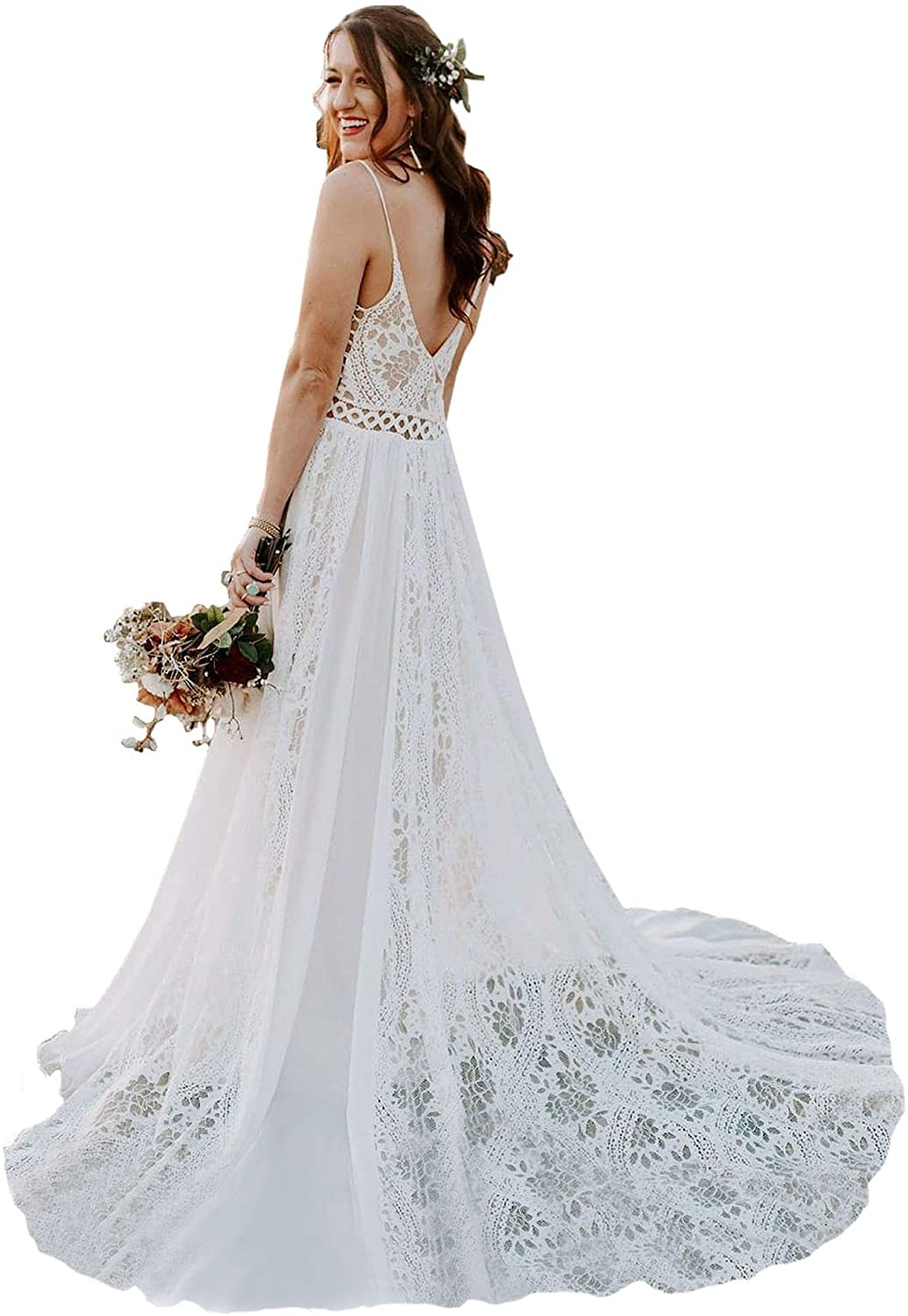 Bohemian Wedding Dresses Spaghetti Strap With Adjustable Drawstring Lace Bridal Gowns At Amazon Women S Clothing Store