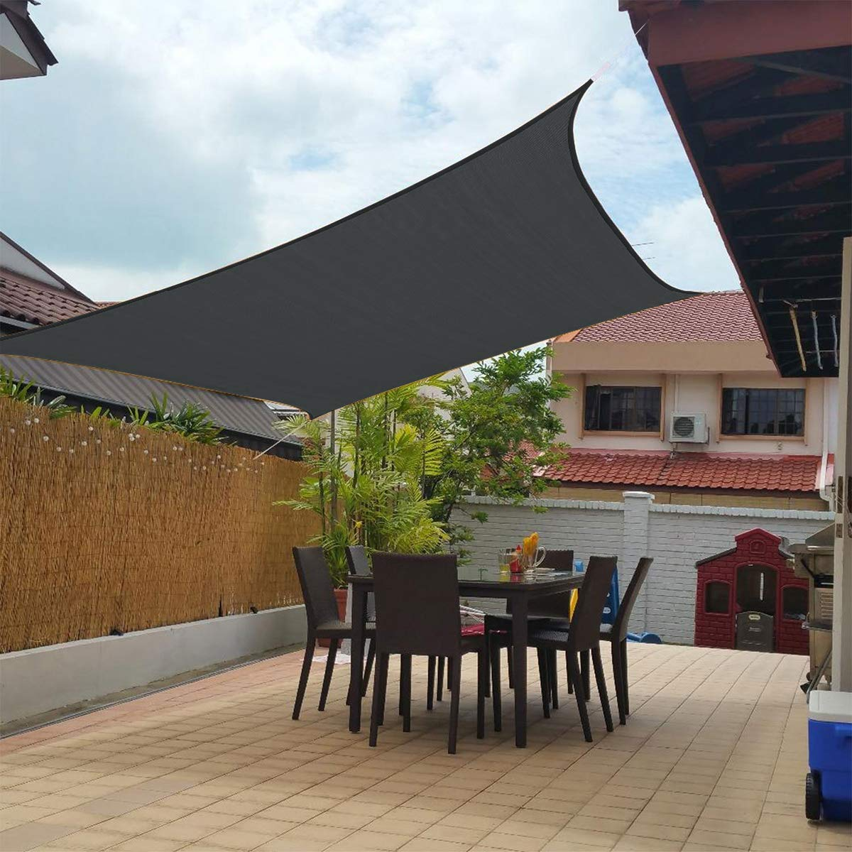90/% UV Block Anti-UV Awning Canopy Fabric Durable Dark gray Patio MENGH Shade Sails 2x2m for Outdoor Garden Party