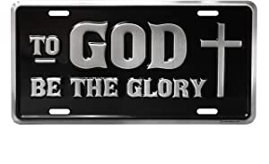 Swanson Christian Products Deluxe License Plate Cover - to God Be The Glory with Cross - Black and Silver