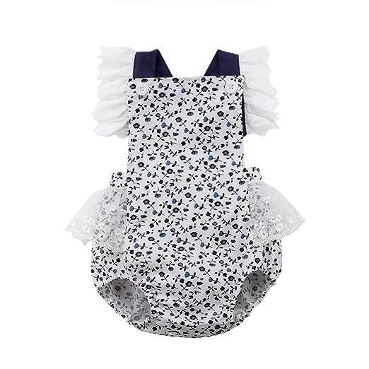 7826bd55041f Amazon.com  sweetyhouse Newborn Baby Girls Lace Floral Ruffles ...