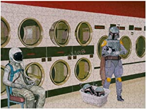 Jigsaw Puzzle, Puzzles for Adults and Kids 300 Pieces - at-The-Laundromat-with-Boba-Fett-Scott-Listfield Home Decor & Game Art of Kids