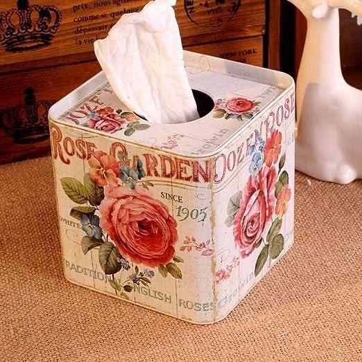 GDDG Caja de Papel Facial Caja de pañuelos metálicos Soporte de Rodillo de Papel Caja de Almacenamiento para el hogar Decoración Regalo: Amazon.es: Hogar