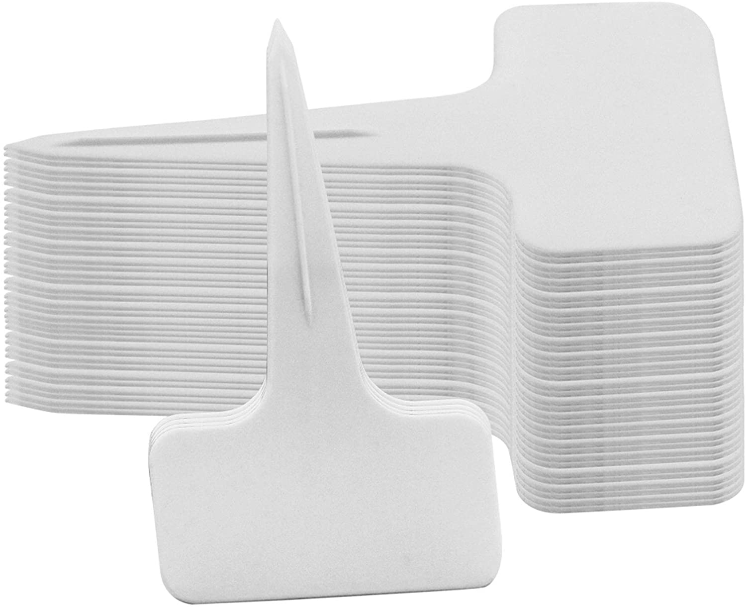 Glory Island 120 Pcs Plant Labels T-Type Tags, Plastic Garden Labels Nursery Tags, 6 x 10 cm (White)