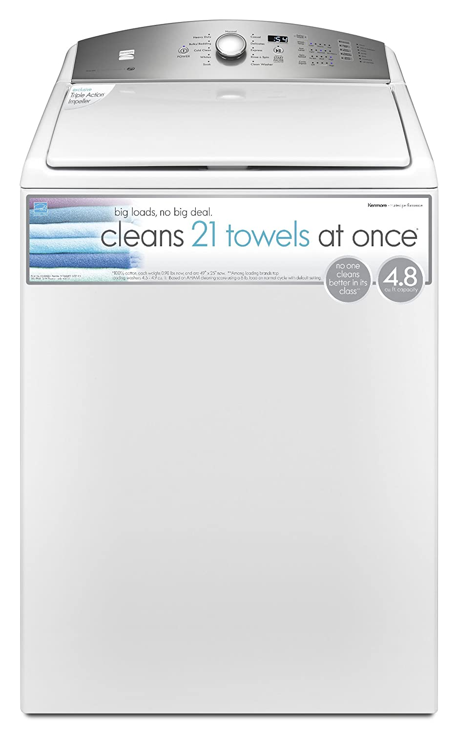 kenmore 600 series washer. kenmore 4.8 cu.ft. top load washer with triple action impeller in white, 600 series