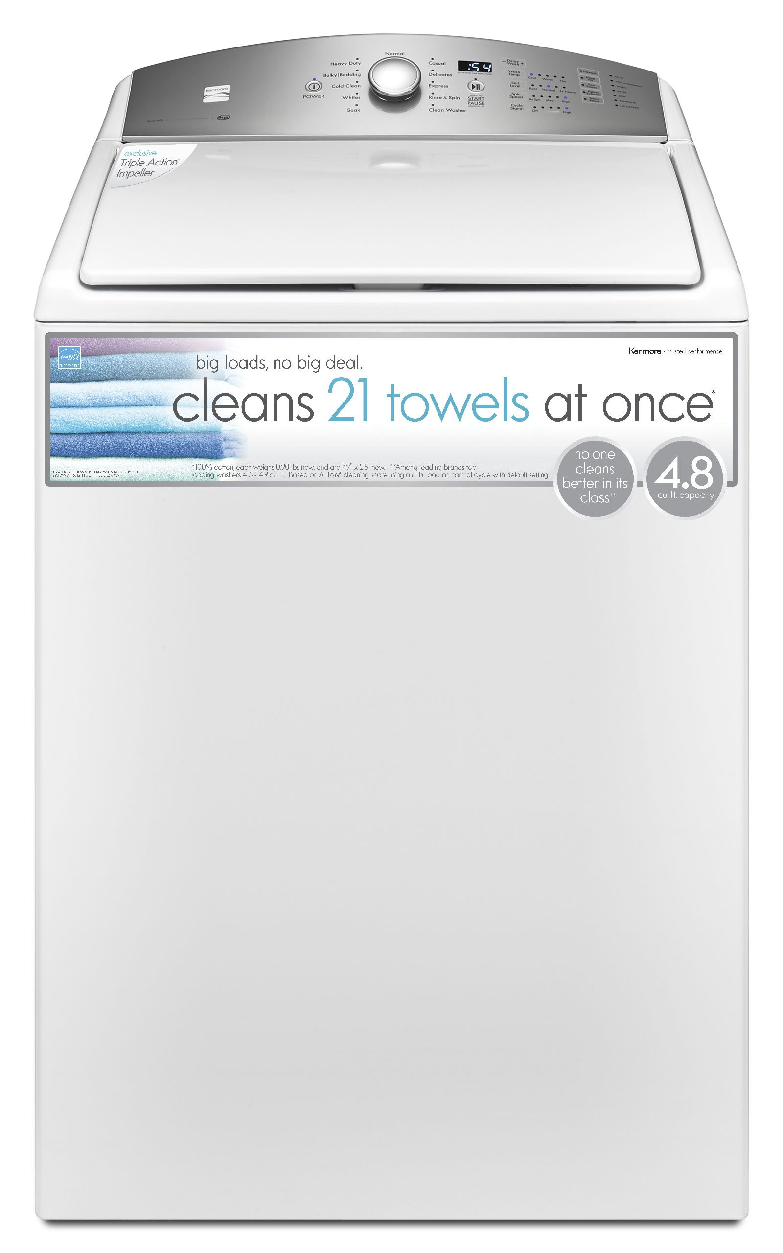 Kenmore 26132 4.8 cu.ft. Top Load Washer with Triple Action Impeller in White, includes delivery and hookup (Available in select cities only)