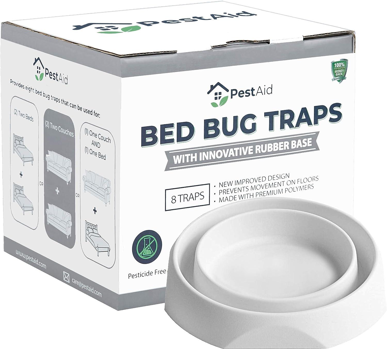 Pest Aid Bed Bug Traps 8 Pack – Bed Bug Killer – Bed Bug Interceptors – Improved Design with Rubber Base – Bed Bug Traps and Detectors for Bed Legs and Furniture – Bedbugs Killers