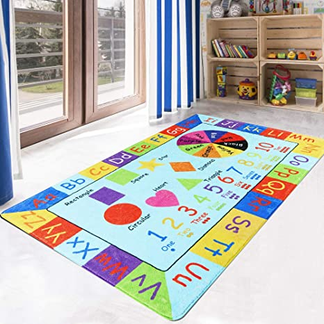 Livebox Play Mat Faux Wool Kids Play Area Rugs 3 X 5 Non Slip Childrens Carpet Abc Number And Color Educational Learning Game For Living Room