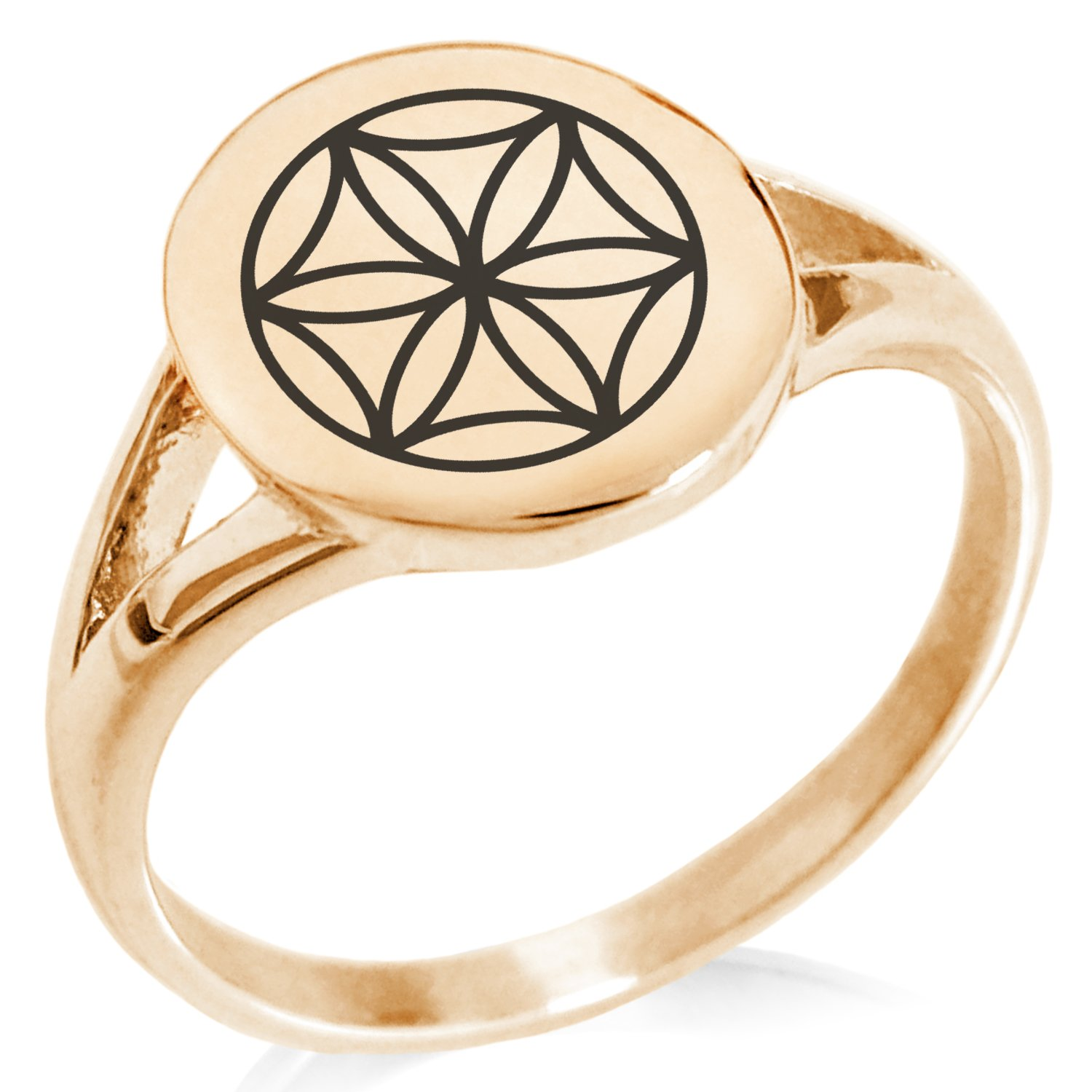 Tioneer Rose Gold Plated Stainless Steel Aphrodite Greek Goddess of Love Symbol Minimalist Oval Top Polished Statement Ring, Size 9
