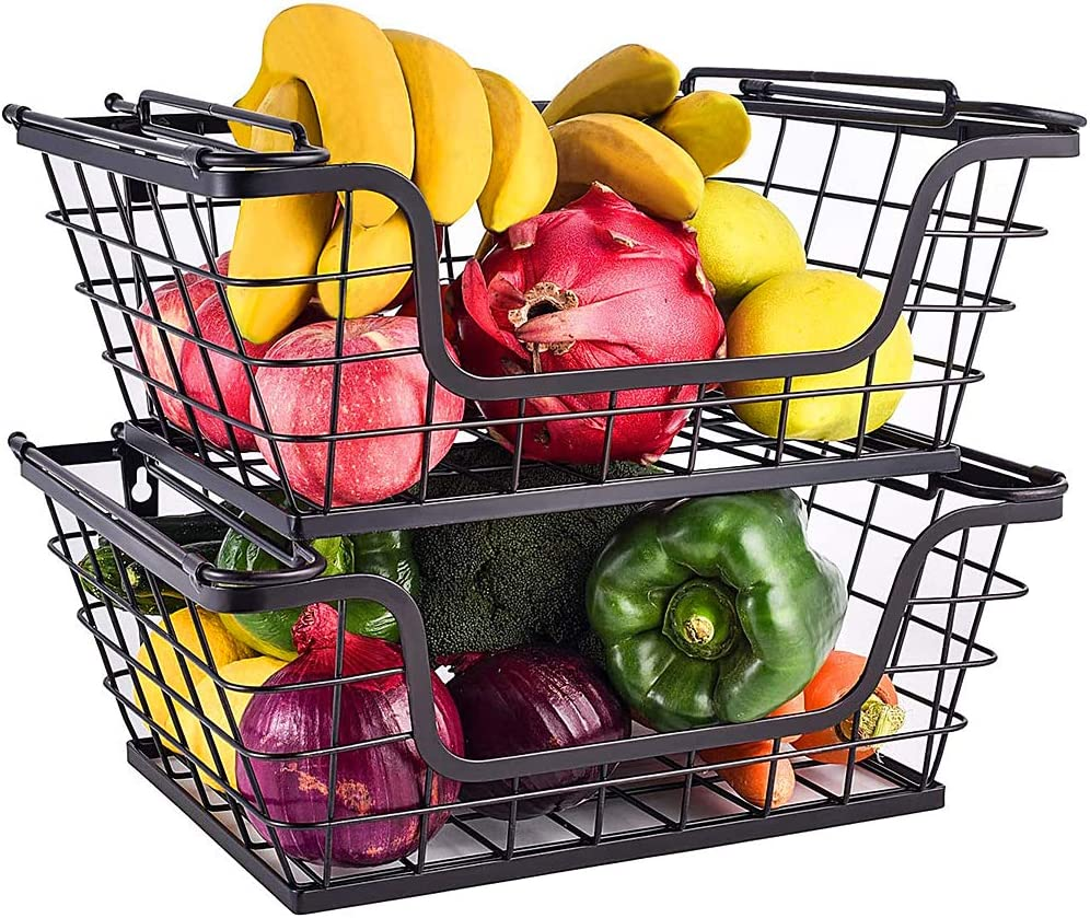 Sunny Living Stackable Metal Storage basket with Handles 2 pack-hanging-for kitchen or Bathroom, Fruit Vegetable Produce Organization for Kitchen Counter-Pantry Cabinet