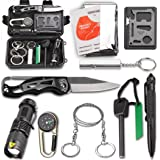 Survival Kit EMDMAK Outdoor Emergency Gear Kit with Emergency Survival Blanket for Camping Hiking Travelling or Adventures (Pack of 10 Pieces)