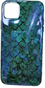 Emerald Fish Scale iPhone 11 Pro Case, Swishly Green Mermaid Blue Ray Light Reflective Flexible Bumper Slim Soft TPU Case Cover for iPhone 11 Pro 5.8