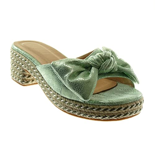 4745fa3f0e5eb8 Angkorly - Chaussure Mode Sandale Mule Slip-on Plateforme Femme Noeud Corde  Brillant Talon Haut