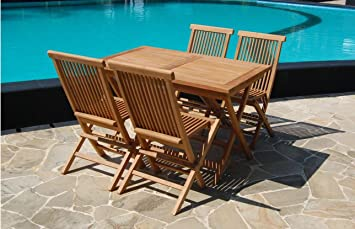 Rectangular 120cm Solid Teak Wood Folding Table U0026 4 Chairs Durable Set  Outdoor Patio Garden Furniture