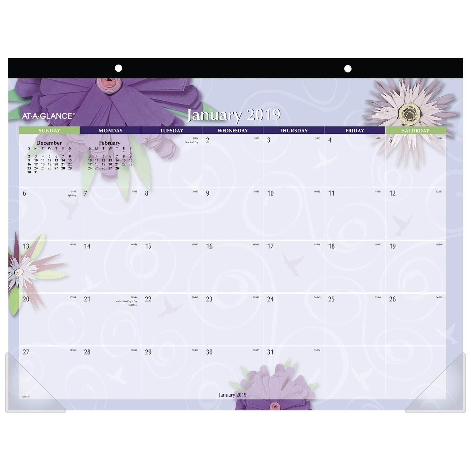 AT-A-GLANCE 2019 Monthly Desk Pad Calendar, 22'' x 17'', Standard, Paper Flowers (5035)