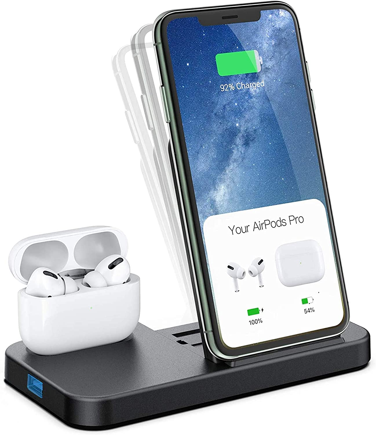 Conido Wireless Charger, 2 in 1 Wireless Charging Station for iPhone and AirPods, Charging Dock for AirPods Pro/2/1, 7.5W Qi Fast Charger for iPhone SE 2020/12 Pro Max/11 Pro Max/XR/XS Max/X/8 Plus