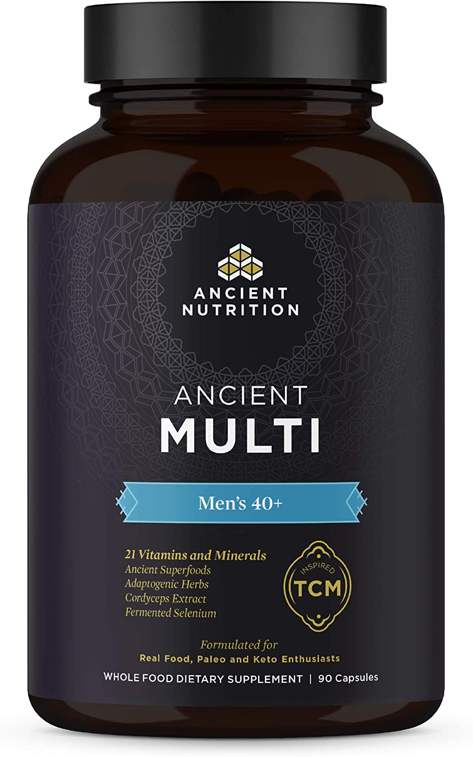 Ancient Nutrition, Ancient Multi Men s 40 – 21 Vitamins Minerals, Adaptogenic Herbs, Fermented Selenium, Paleo Keto Friendly, 90 Capsules