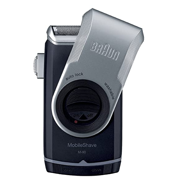 Braun M90 Mobile Shaver for Precision Trimming, Great for Travel, Black/Silver best men's travel accessories