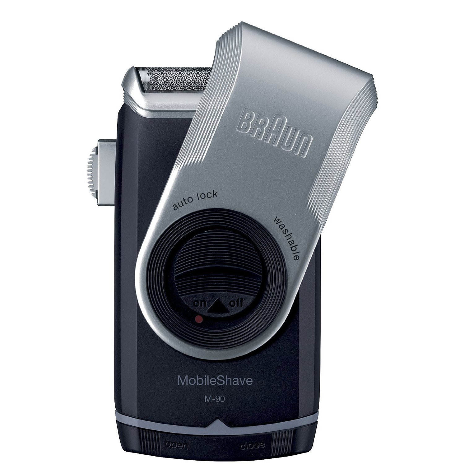 Braun M90 Mobile Shaver for Precision Trimming, Great for Travel, Black/Silver