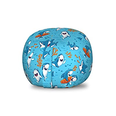 Ambesonne Shark Storage Toy Bag Chair, Underwater Fantasy World with Funny Fish Characters Cheerful Childish Mascots, Stuffed Animal Organizer Washable Bag for Kids, Small Size, Blue White Orange: Kitchen & Dining