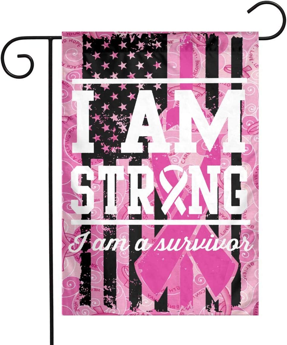 I Am Strong, I Am A Survivor House Breast Cancer Sign Avoid Breast Cancer Awareness Ribbon Hope Faith Courage Garden Flag Banner Pink Ribbon Line Flag Outdoor Decoration Single Side 12 X 18inch USA