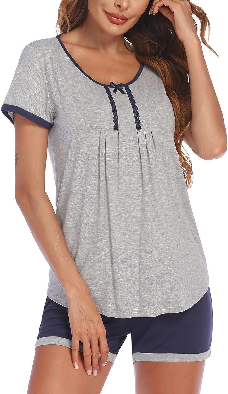 Ekouaer Womens Short Pajamas Set Short Sleeve Sleepwear Soft Pj Sets Nightwear S-XXL