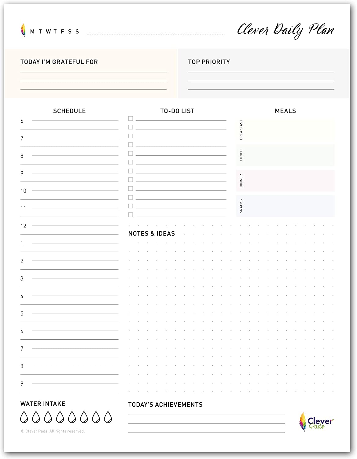 Daily Planner to Do List Notepad with 50 Undated Tear Off Sheets to Increase Productivity & Happiness | 8.5 x 11 inch Note Pad, Schedule, Checklist & Gratitude