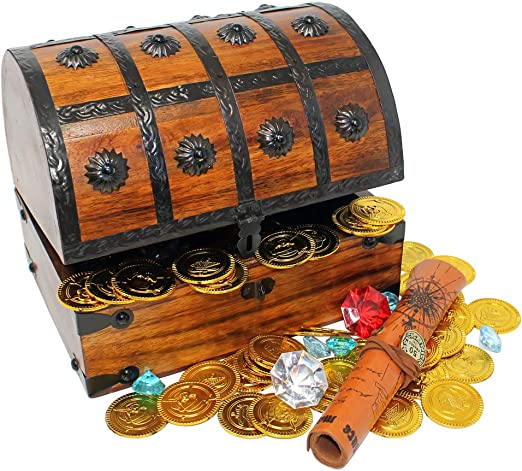 Amazon.com: Nautical Cove Piratas Cofre del Tesoro de madera ...