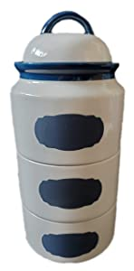 Stackable Ceramic Chalkboard Canister 3 piece set with chalk included