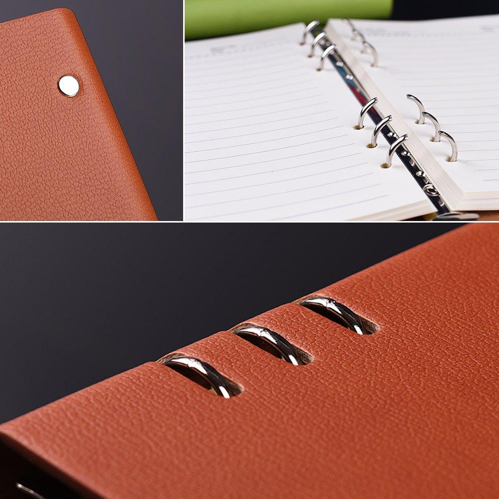 Carnet /à spirales rechargeable Zhi Jin avec couverture en cuir rigide format A5 noir