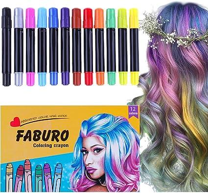 Faburo - 12 tizas para el pelo para niñas, bolígrafos de color tiza para mujeres, kit de teñido fácil para el pelo, fiesta, festival, cosplay DIY: Amazon.es: Belleza