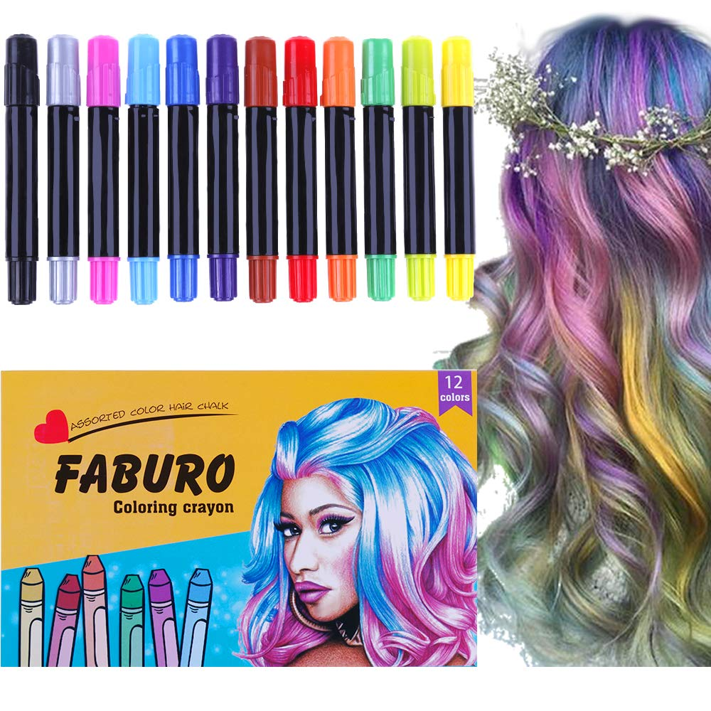 Faburo 12pcs Hair Chalks for Girls Hair Chalk Color Pens for Women Easy Hair Dyeing Kit for Hair Dyeing, Party, Festival, Cosplay DIY
