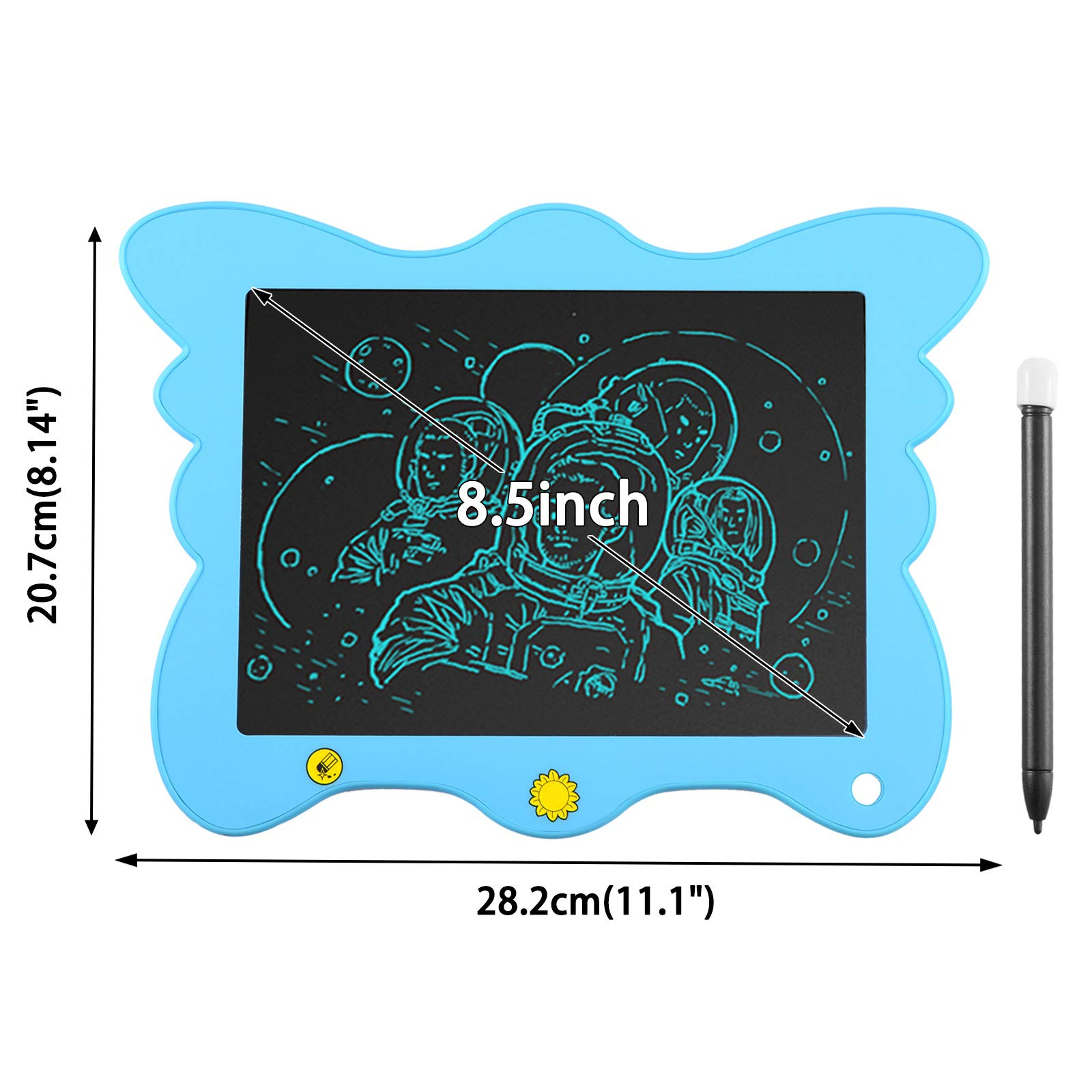Voilamart LCD Writing Tablet Board Electronic Drawing Pad Digital eWriter for Kids Graphics Tablet Handwriting Pad with Partial Delete Function (Blue)