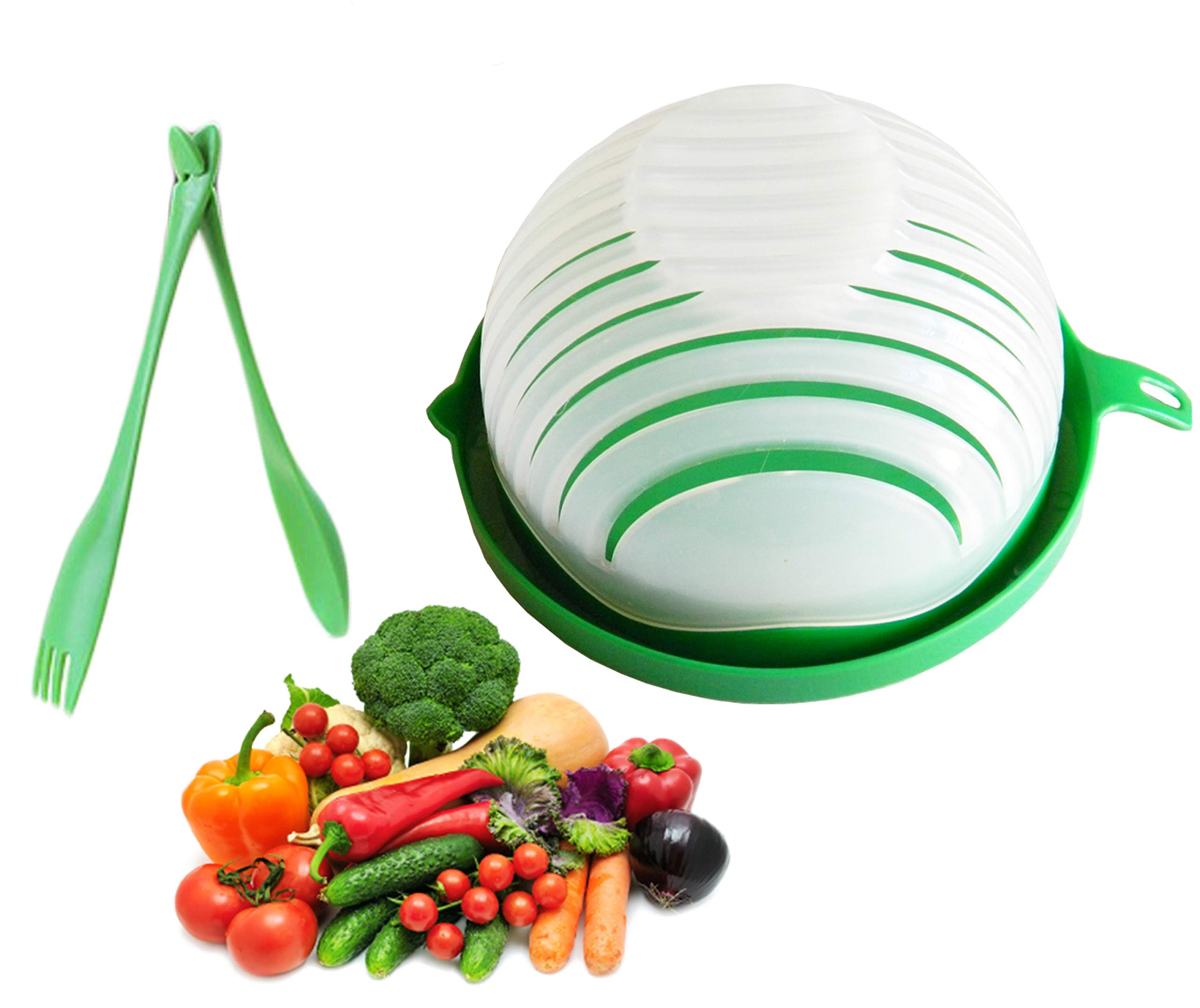 5 in 1 Salad Cutter Bowl | 60 Second Salad | Easy Slicer Chopper Strainer Cutting Board All in One | Strong and Durable| Fruit and Vegetable Cutter | Safe and Non-Toxic Food Grade BPA Free Material by Sugar Syrup
