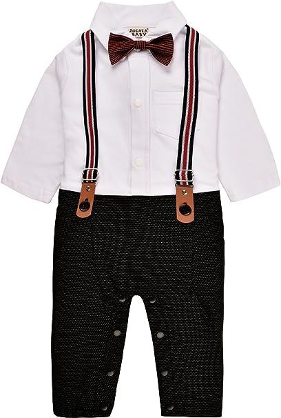 Baby Boy Romper in Tie Gentleman Suit Bow Design Jumpsuit Cotton For 3-18 Months