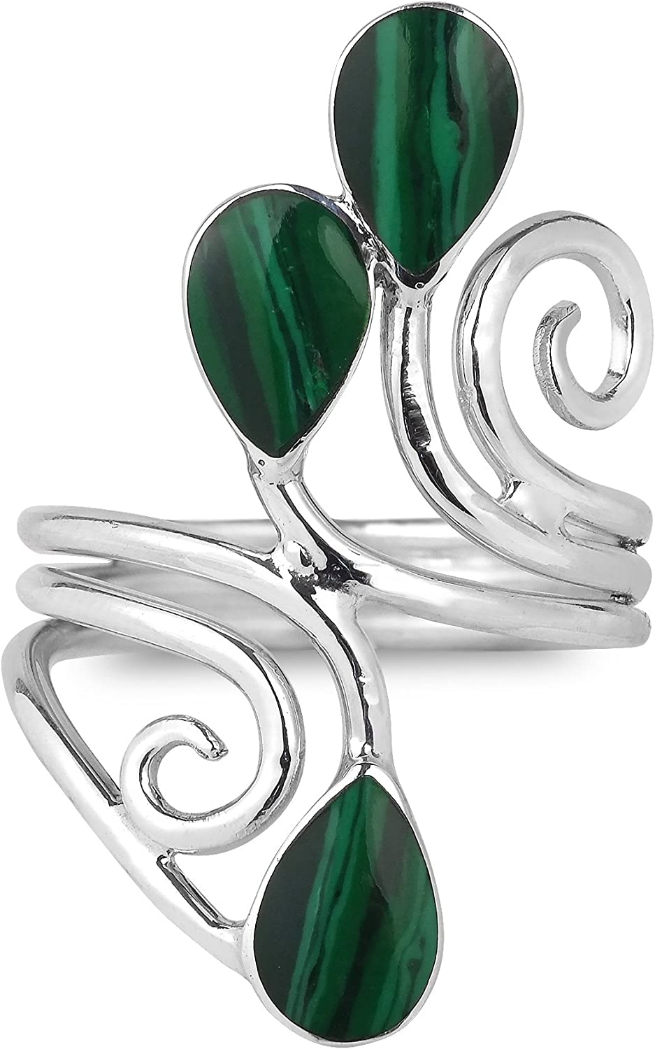 Floral Vine Ornate Teardrop Green Malachite Sterling Silver Ring