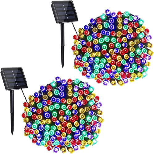 Toodour Solar String Lights, 2 Packs 72ft 200 LED 8 Modes Outdoor String Lights, Waterproof Solar Fairy Lights for Garden, Patio, Fence, Holiday, Party, Balcony Decorations Multicolor