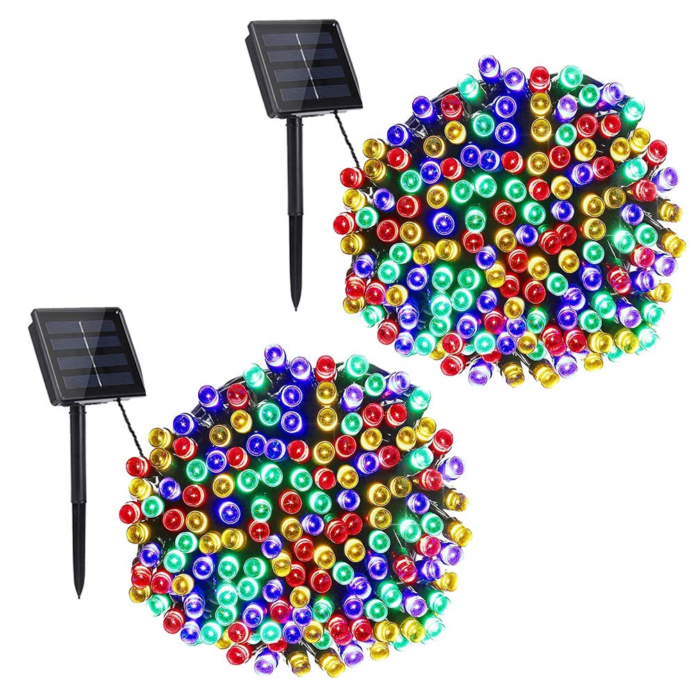 Solar Christmas Lights, Solar String Lights 200 LED 72ft 8 Modes, Solar Powered String Lights Waterproof Decorative led String Lights for Garden, Patio, Home, Wedding, Party, Xmas (Multicolor, 2 Pack)
