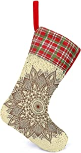 Sequin Christmas Stocking Funny 3D Mandala Durable Vivid Yard Garden Flags Image, Reversible Color Changing Magical Stocking, for Ornament Fireplace Xmas Tree Holiday Party Kids Gift Decoration