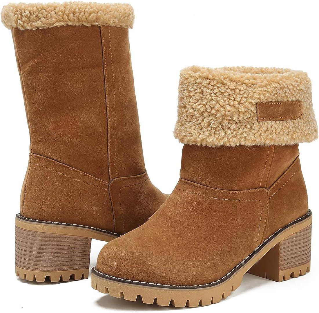 MORNISN Womens Winter Snow Boots Round