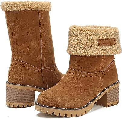 Amazon.com | MORNISN Womens Winter Snow Boots Round Toe Suede