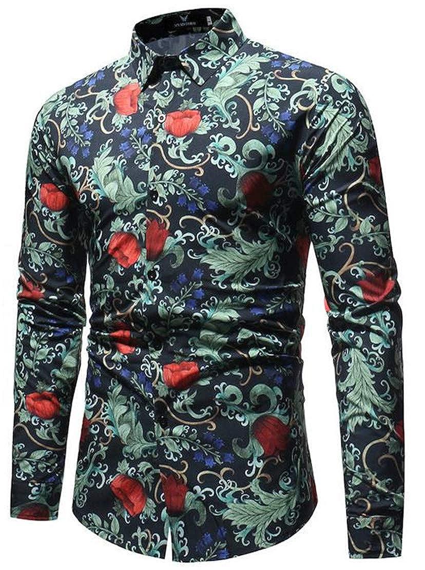 XTX Mens Vintage Lapel Neck Curved Hem Floral Print Button Down Shirts