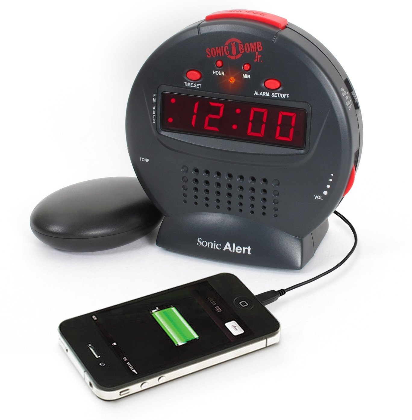 Sonic Bomb Jr  by Sonic Alert Loud Alarm Clock with Bed Shaker Vibrator   For Heavy Sleepers, Teenagers, People with Hearing Loss, Seniors, and the