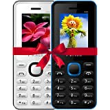 IKALL 4.57 Cm/1.8 Inch K66 Mobile Phone Combo (White & Blue)