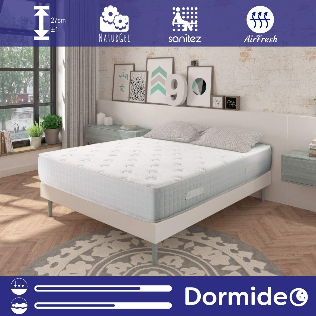 DORMIDEO - Colchón Viscoelástico City Luxury - Fibras ecológicas Cashmere, Antibacterias, 135x190cm