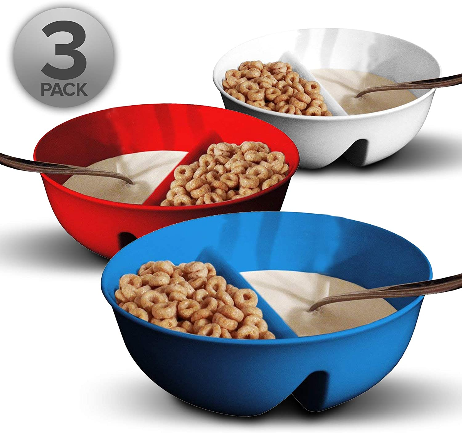 3 Pack - Just Crunch Anti-Soggy Cereal Bowl - Keeps Cereal Fresh & Crunchy | BPA Free | Microwave Safe | Ice Cream & Topping, Yogurt & Berries, Fries & Ketchup and More – Red, White & Blue