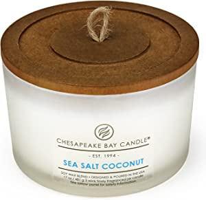 Chesapeake Bay Candle 3-Wick Scented Candle, Sea Salt Coconut, Coffee Table Jar