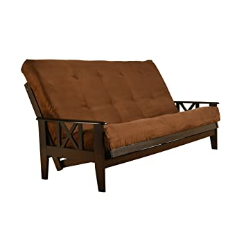 Medium image of queen or full size montreal  u0026quot  espresso futon frame w  8 inch innerspring mattress