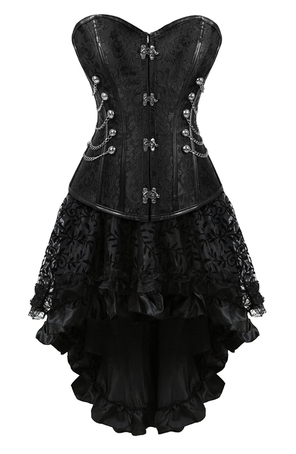 Steampunk Corsets & Belts | Underbust, Overbust Grebrafan Steampunk Corset Skirt with ZipperMulti Layered High Low Outfits $51.99 AT vintagedancer.com