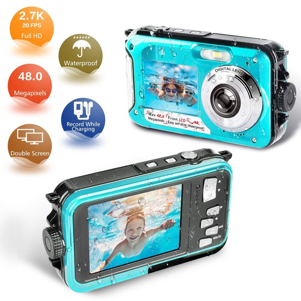 Waterproof Camera Underwater Camera Full HD 2.7K 48 MP Video Recorder Selfie Dual Screens 16X Digital Zoom Waterproof Digital Camera for Snorkeling by YISENCE