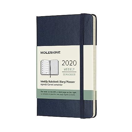 Moleskine - Agenda Semanal de 12 Meses 2020, Tapa Dura y Goma Elástica, Color Azul Zafiro, Tamaño Pequeño 9 x 14 cm, 144 Páginas
